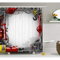 Vixm промышленные занавески для душа инженерные тематические шестерни рычаги трубы и метров дымовой подъемный кран ткань для ванной занавес ...