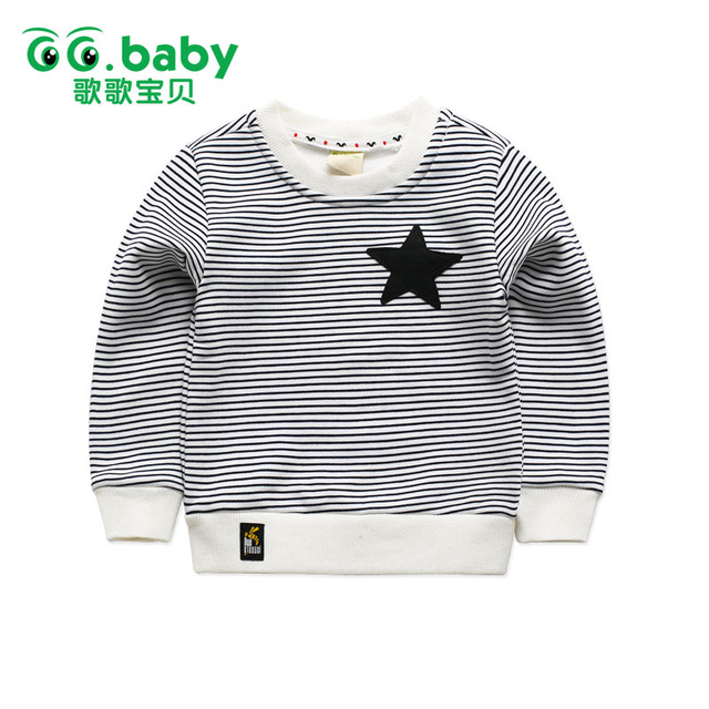 Fashion Fleece Striped Kids T-shirt Boy White Girl Boys Long Sleeve Shirt Girls Top Black Children Tshirts Camiseta Infantil Top