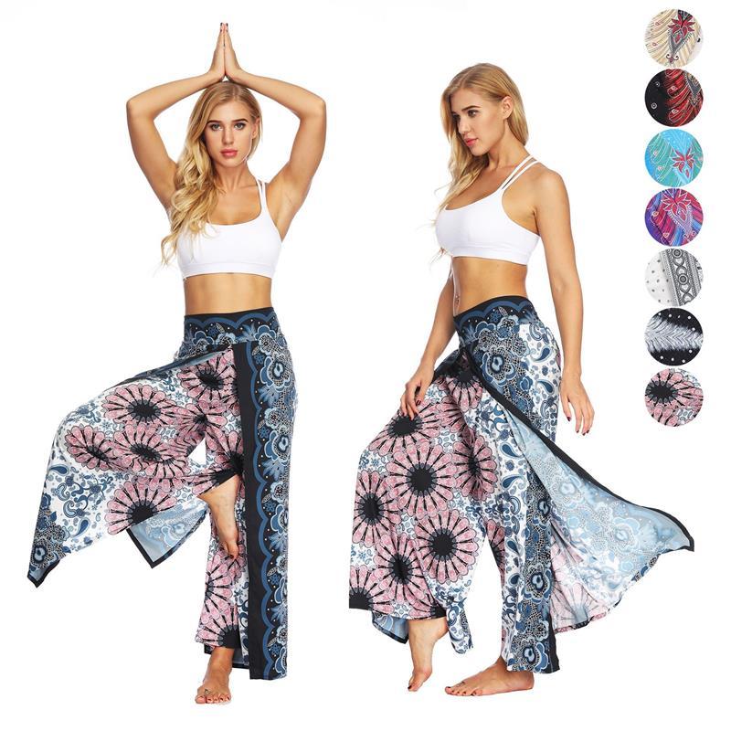 EU Size High Waistband Thailand Side Open Beach   Pant   Black Feather Women's Yo-ga Leggings Workout Loose   Pants     Wide     Leg     Pant
