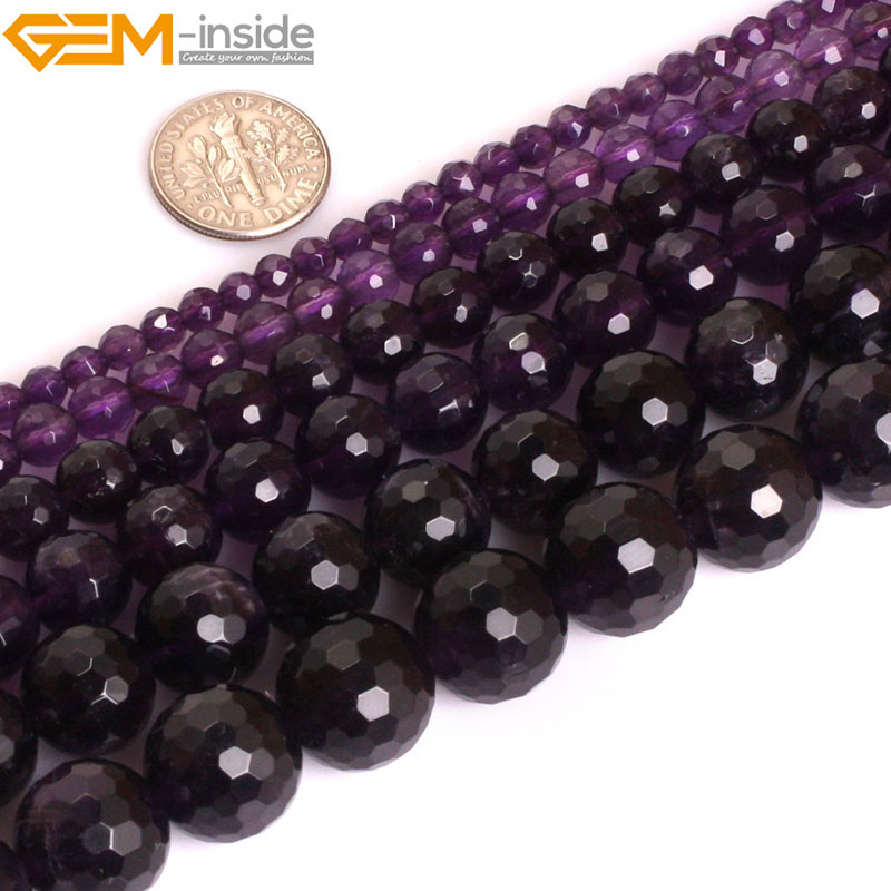Gem-inside AAA Grade Natural Round Faceted Purple Amethysts. Precious Stone Beads for Jewelry Making DIY Jewellery