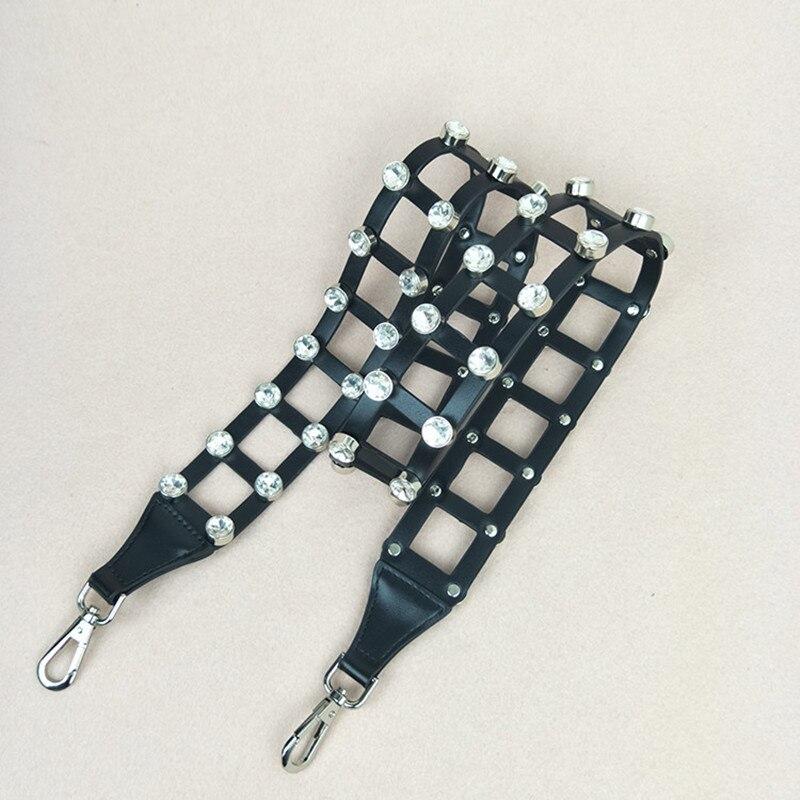 New Hollow Wide Shoulder strap Crystal Diamond Long Shoulder Bag Bag Accessories Shoulder Diagonal White Tie Bag Tide