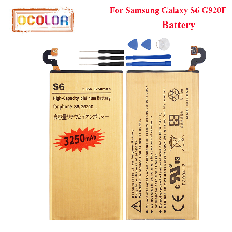 ocolor For Samsung Galaxy S6 G920F Battery 3250mAh High Capacity Long Standby Time For Samsung Galaxy S6 G920F Battery +Tools