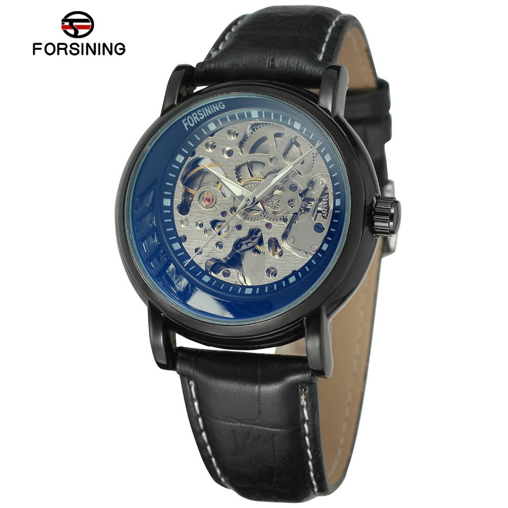 Automatic Watches Men Skeleton Clock Luxury Brand Male Gold Leather Strap Mechanical Wristwatch Unique Dial Watch With Gift Box orkina luxury brand men skeleton mechanical wrist watch leather strap male semi automatic watches christmas gift for men box