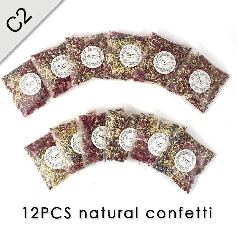 Натуральные свадебные конфетти ELOMAN сушеные розы Конфетти в форме лепестков Свадебные и праздничные украшения биоразлагаемые 1л - Цвет: confetti - 12PCS