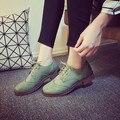 Женщины Кожаные Ботинки Sapato Feminino Зеленый Коричневый Резные Квартиры Chic Все Матч Женские Оксфорд Обувь Для Женщин Зашнуровать Удобные