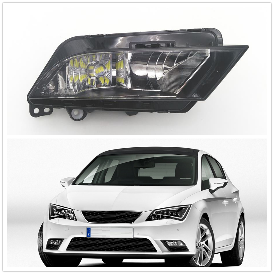 Car LED Light For Seat Leon 2013 2014 2015 2016 2017 Car-styling Front Bumper LED Fog Light Fog Lamp Right Passenger Side free shipping for vw touareg 2015 2016 new led car fog light fog lamp right side passenger side