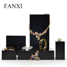 FANXI  New Arrivals Black Jewelry Display Table Set Solid Wood Ring Earring Pendant Necklace Stand Box for Showcase