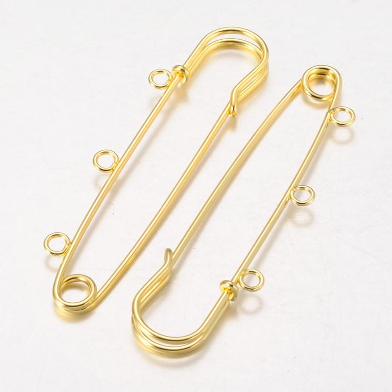 100pcs Golden Iron Kilt Pins Brooch Findings for Jewelry Making DIY,75mm, Hole: 3mm