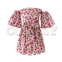 CUERLY women floral print mini dress bow tie sashes slash neck short sleeve female summer A line dresses vestidos 2018 summer floral print women dress short sleeve mini dresses womne a line belle dress vestidos charming clothing