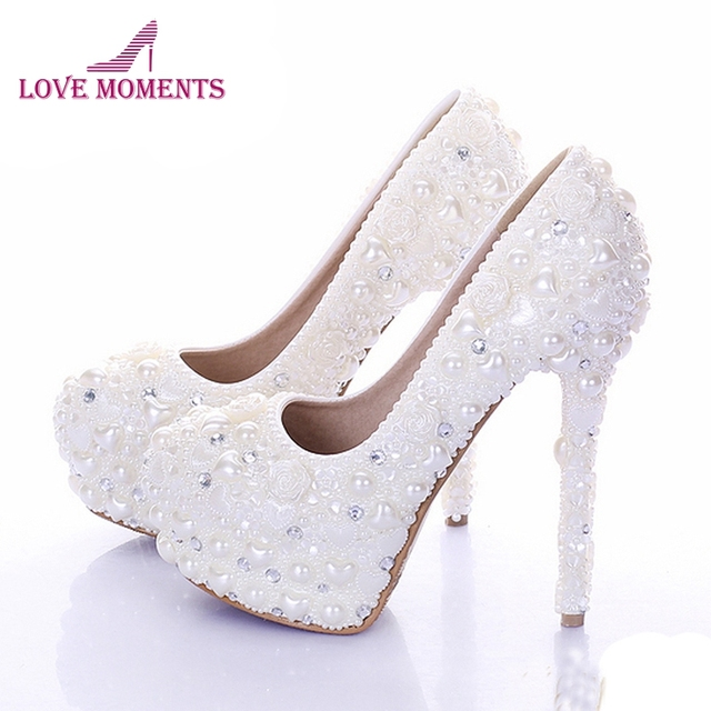 Ivory Color Wedding Shoes | New Diamond Wedding Shoes Ivory Color Pearl Bridal Dress Shoes