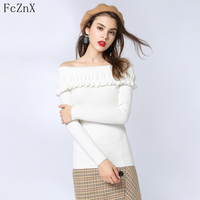 Autumn 2018 women sweater pullovers knitted off shoulder slash neck solid color long sleeve slim sexy fashion jumper casual tops