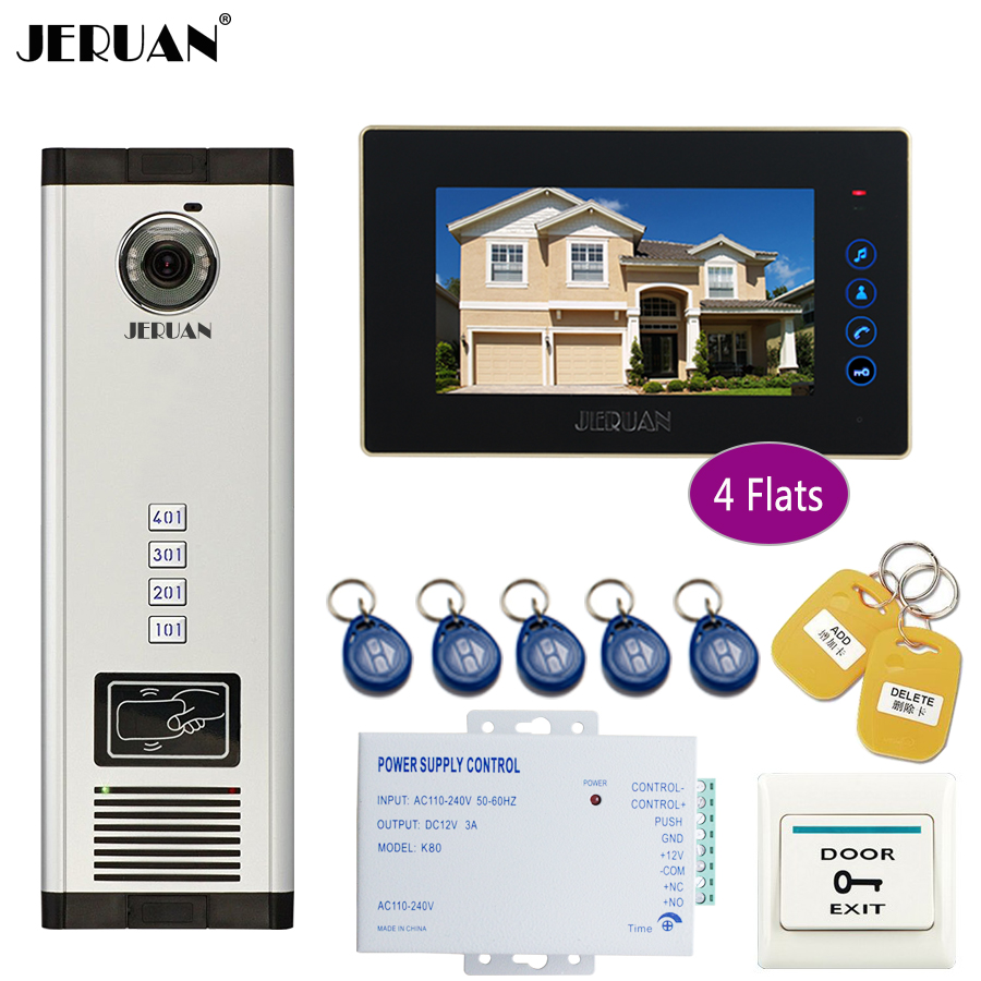 JERUAN Apartment 7 Inch LCD Monitor 700TVL Camera Video Door Phone Intercom Access Home Gate Entry Security Kit for 4 Families jeruan 7 inch lcd monitor 700tvl camera video door phone intercom access home gate entry security kit for 4 families apartments