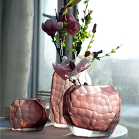 Coloured glass vase Manual grinding carved Modern StyleTabletop Flower vase Geometric wedding vases home decoration accessories