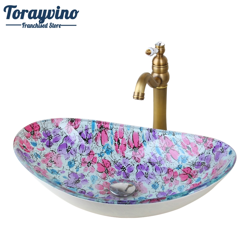 Torayvino Flora Oval Glass Washroom Basin Vessel Vanity Sink Bathroom Basin Washbasin Retro Brass mixer Faucet Set w/ Drain