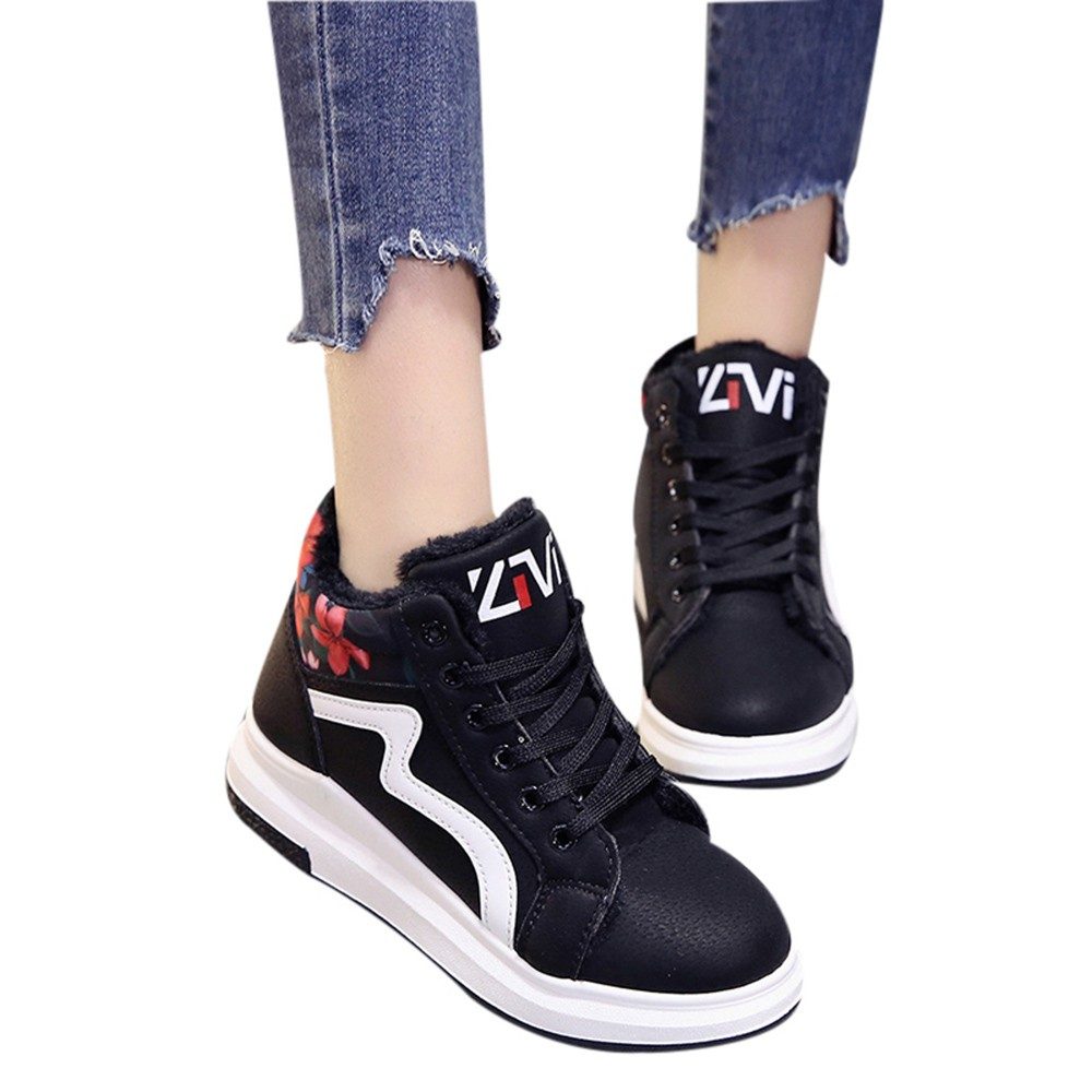 Detail Feedback Questions about YOUYEDIAN sneakers women 2019 respirant Women  Lace Up Winter Warm Floral HighBoots Round Toe Shoes scarpe donna sneakers  ... 7d5d8d60bacf