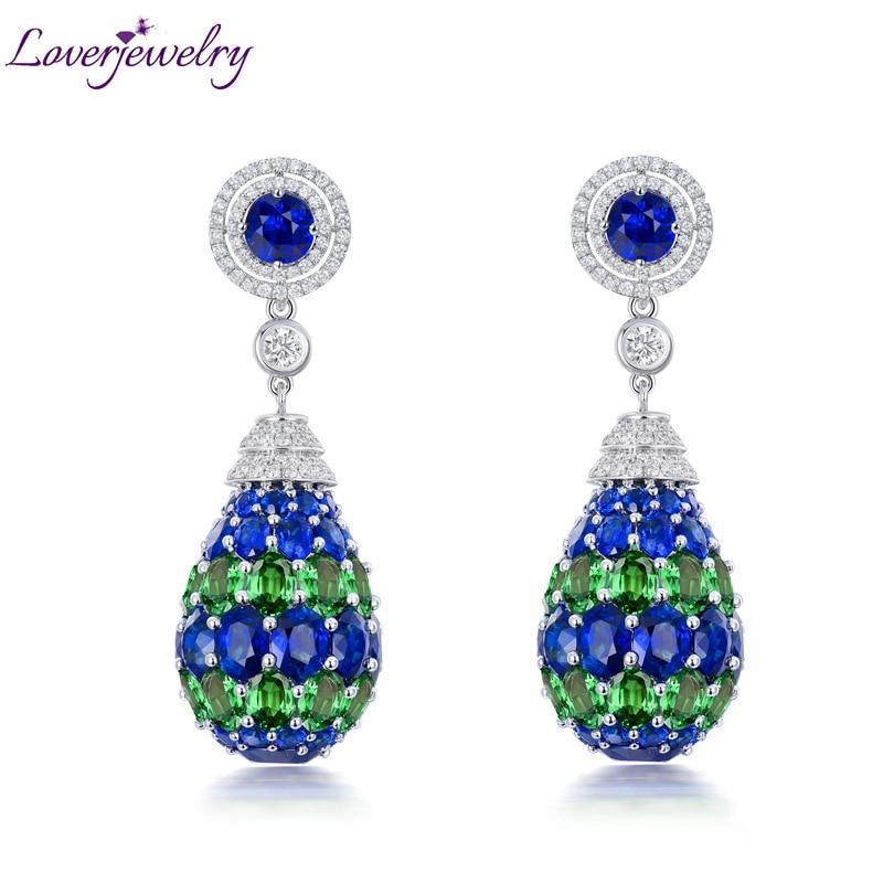 LOVERJEWELRY Luxury Jewelry Solid 18K White Gold Blue Sapphire Drop Earrings Tsavorite Diamond Earrings for Women Party Wedding