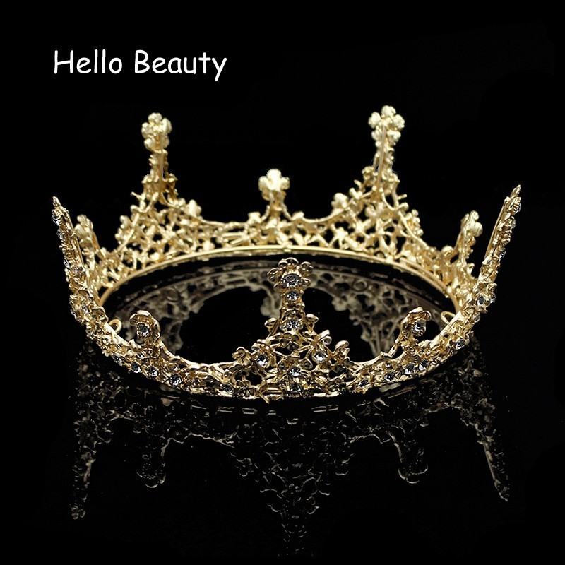 Gold Color Baroque Vintage Men Diadem Large Crystal Full Round Prom King Crown Wedding Pageant Queen Tiara Bridal Hair Jewelry beauty vintage full round gold baroque crown circle rhinestone wedding queen king tiara pearl bride hair accessories