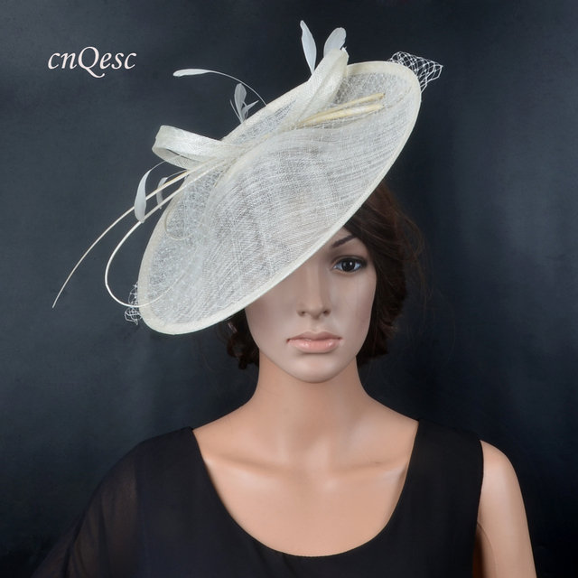 NEW Ivory Cream Big disc fascinator sinamay hat hatinator bridal headpiece w  ostrich spine veiling for races e255bb0fca08