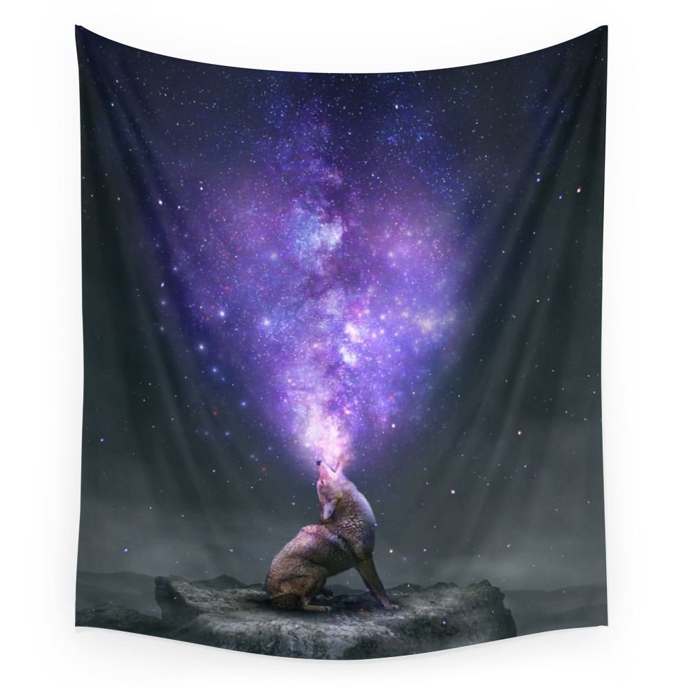All Things Share The Same Breath (Coyote Galaxy) Wall Tapestry Home Living Decor Space