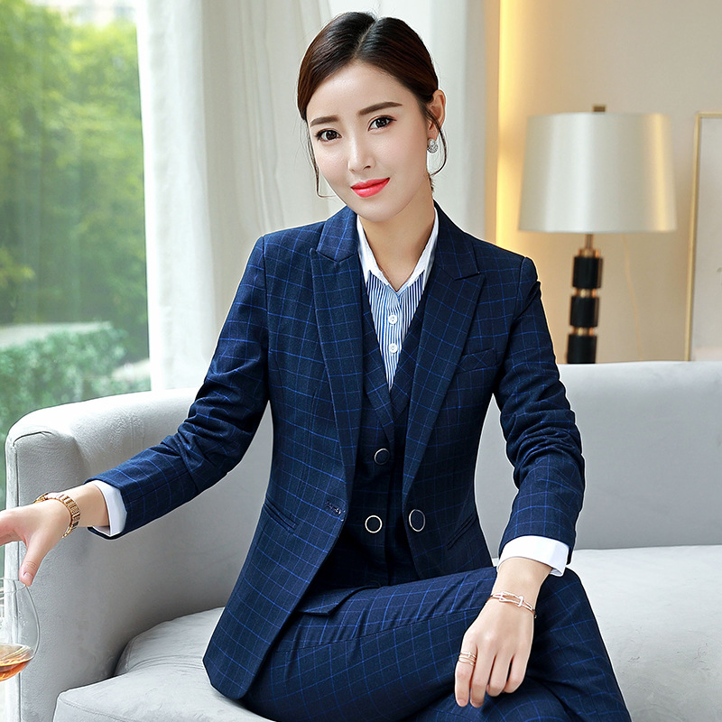 Women's Business Suit Suit 2019 Autumn Lattice Slim Long Sleeve Small Suit Jacket Temperament Casual Nine Pants And Skirt