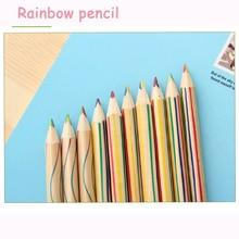 288pcs DIY Kawaii Wooden Colored Pencil Cute Wood Rainbow Color Pencil for Kids School Graffiti Drawing Painting free shipping