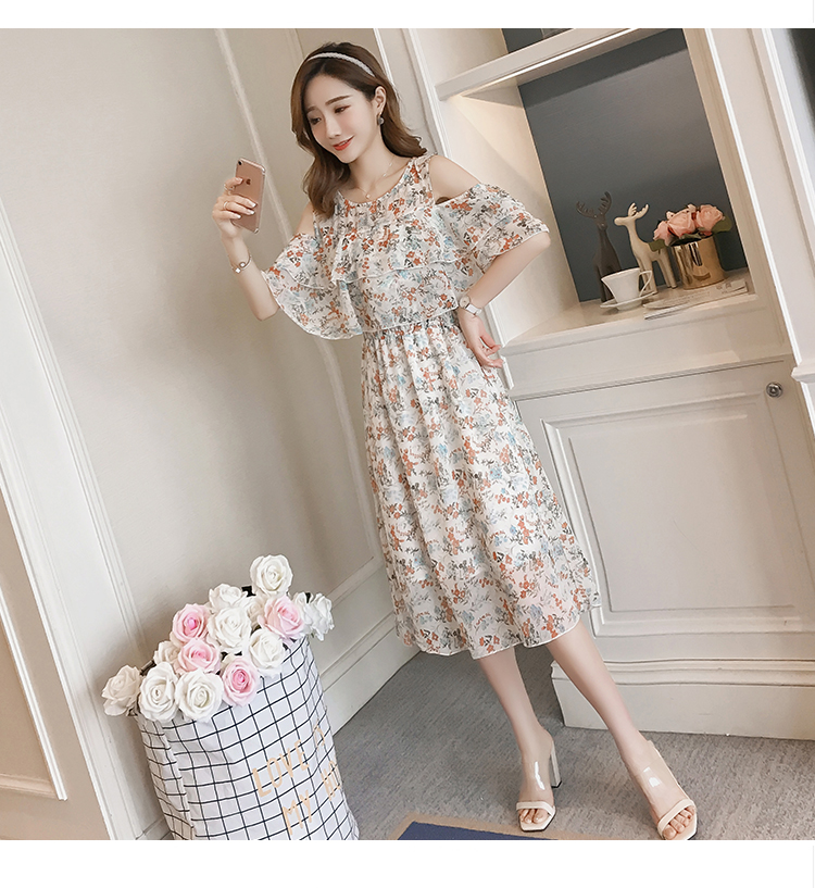 Pregnant Nursing Dress Off Shoulder print Maternity Breastfeeding Dresses For Photo Shoot Chiffon Maternity Dress Party Clothes 77