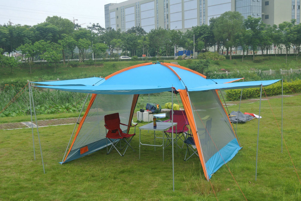 Ultralarge super strong iron pole outdoor camping tent beach gazebo party family tent alltel high quality double layer ultralarge 4 8person family party gardon beach camping tent gazebo sun shelter