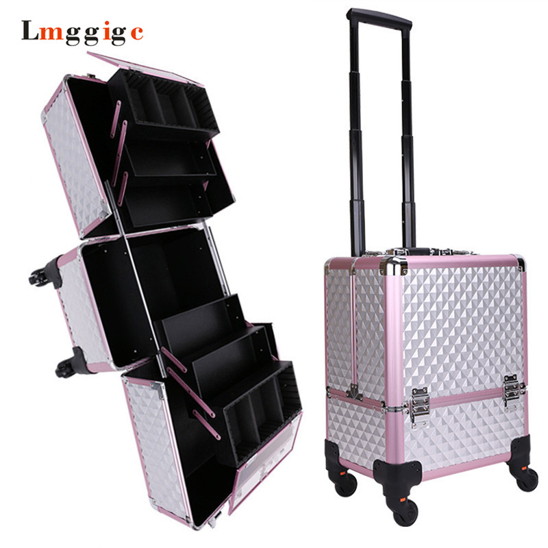New Aluminum frame+ABS Cosmetic Case,Cabin Makeup artist Toolbox,Wheel Trolley Nails Make-up Bag,Luggage Rolling Suitcase Box New Aluminum frame+ABS Cosmetic Case,Cabin Makeup artist Toolbox,Wheel Trolley Nails Make-up Bag,Luggage Rolling Suitcase Box