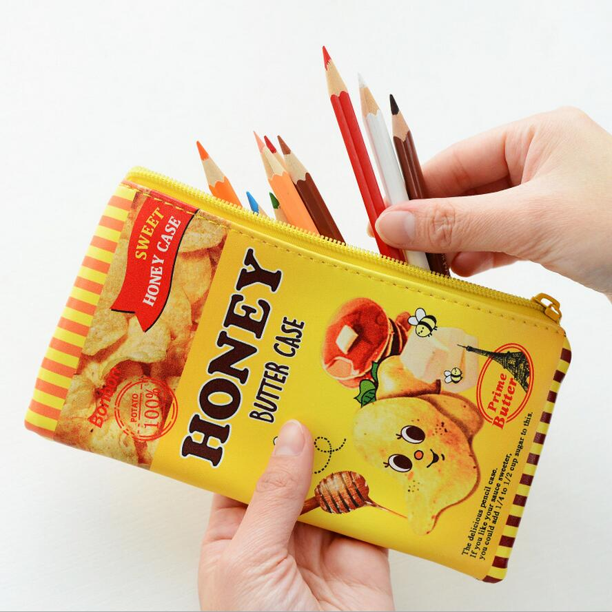 <font><b>6</b></font> Pcs Biscuit Pencil Case Leather School Supplies <font><b>Bts</b></font> Stationery Gift Estuches School Cute Pencil Box Pencilcase Pencil Bag1697 image