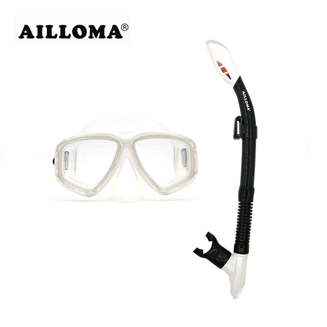 AILLOMA Diving Mask Anti-fog Dry Snorkel Set Swimming Tube Glasses Eyewear Waterproof Underwater Diving Equipment Goggles sets