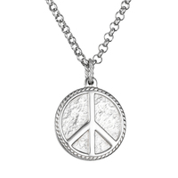 Titanium Hippie Stainless Steel Jewelry Silver Peace Sign Pendant Necklace For Men Peace Necklace Steel Women