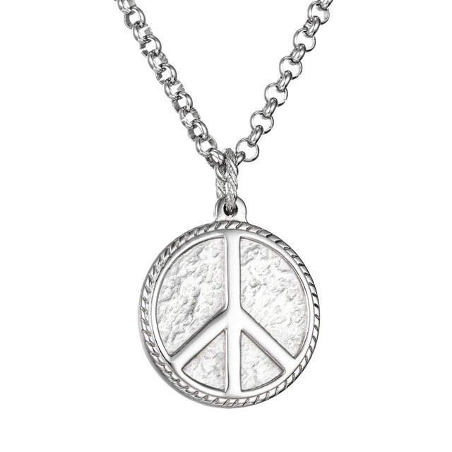 Mcllroy hippie stainless steel jewelry silver peace sign pendant mcllroy hippie stainless steel jewelry silver peace sign pendant necklace for men peace necklace steel women mozeypictures Choice Image