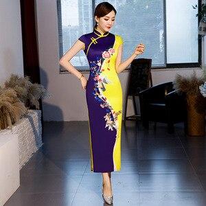 Image 5 - Vendita calda Tradizionale Cinese Delle Donne Vestito Lungo di Estate Nuovo Raso Di Seta Qipao Sexy Sottile Stampato Cheongsam Più Il Formato M L XL XXL XXXL