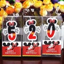 Вечерние свечи для торта на день рождения с изображением Микки Мауса, свечи на возраст 0, 1, 2, 3, 4, 5, 6, 7, 8, 9 лет, вечерние свечи