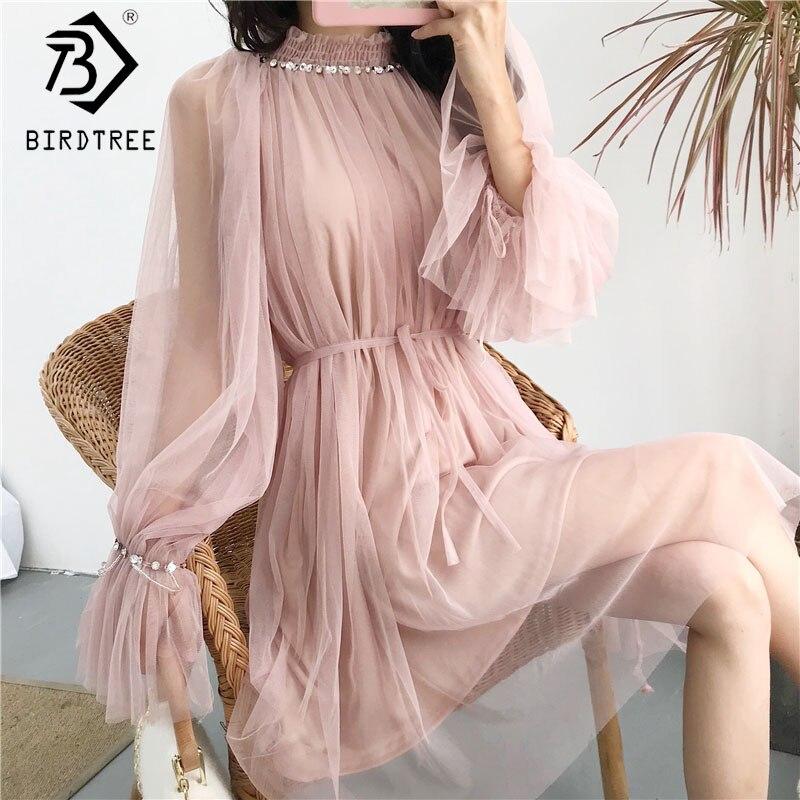 2018 Spring Korean Style Elegant Mesh Beading Girl Dresses Basis Bodycon Sweet Knee-Length Solid Dresses Flare Sleeve D81402C