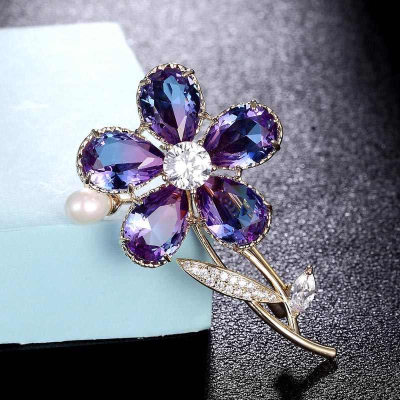 Zlxgirl Kualitas Bagus Zircon Bunga Bros Bridal Perhiasan untuk Wanita Emas Logam Tembaga Mutiara Jilbab Pin Pakaian Suit Aksesoris