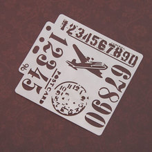 Aircraft Airplane number Stencils for DIY Scrapbooking Plastic Handmade Template Crafts Art Diary Decor Painting Drawing Spray cool spider web stencils template design for scrapbooking background reusable plastic spray paint stencils for diy