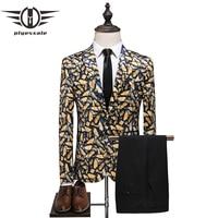 Plyesxale элегантные мужские свадебные костюмы 2019 роскошный мужской блейзер с рисунком бабочки и брюки, комплект синий желтый костюм Homme Mariage Q71