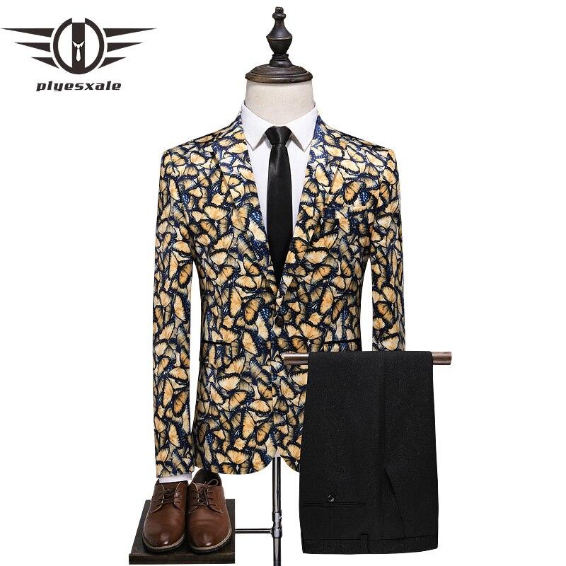 Plyesxale элегантный Для мужчин Нарядные Костюмы для свадьбы 2019 люкс бабочки Для мужчин пиджак и брюки набор синий желтый Costard Homme Mariage Q71