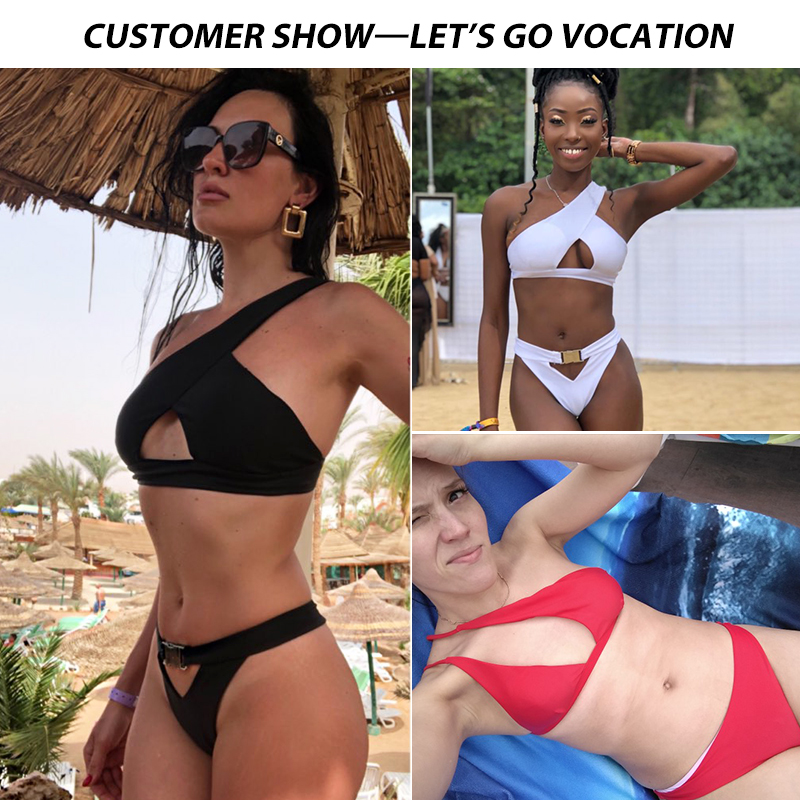HTB1nElheEuF3KVjSZK9q6zVtXXaC In-X One shoulder bikini 2019 Buckle high cut swimsuit Sexy thong bikini Hollow out bathing suit White push up swimwear women