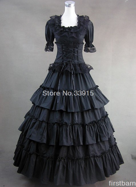 Black Square Neck Short Sleeves Lace Gothic Clothing Victorian Lolita Dress