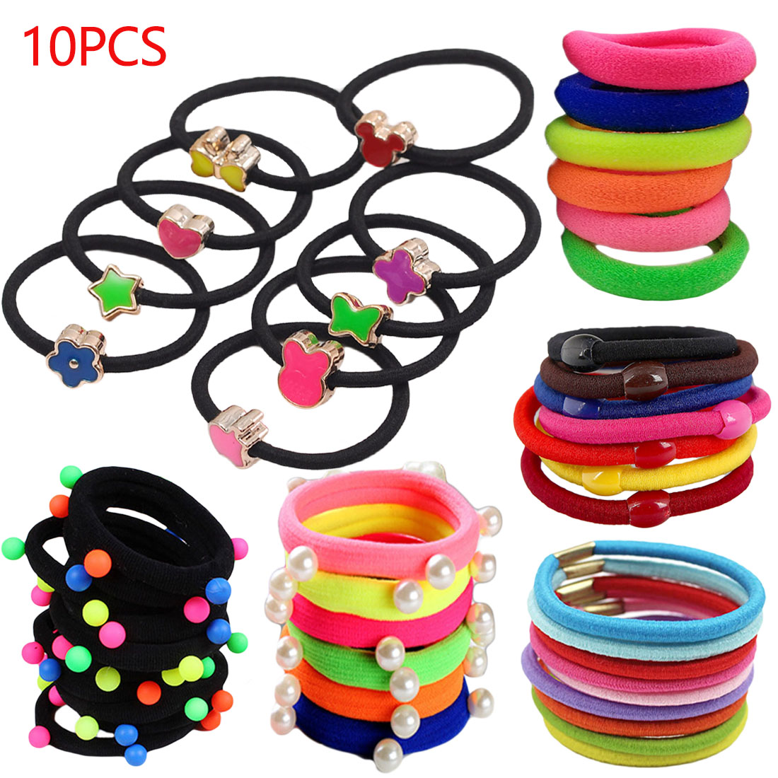 Mix Color 10pcs/lot Elastic   Headwear   Hair Bands Scrunchie Gum Ponytail Ropes Hair Accessories Girls Hair Holders