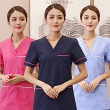 Female doctors take short sleeve operating room beauty hospital work clothes