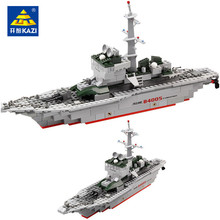 KAZI Military Ship Model Building Blocks Kids Toys Imitation Gun Weapon Equipment Technic Designer educational For Children