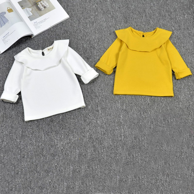 Children T-Shirt Lace-Collar Long-Sleeve Tops Kids Clothes Autumn Baby-Girls Cotton White