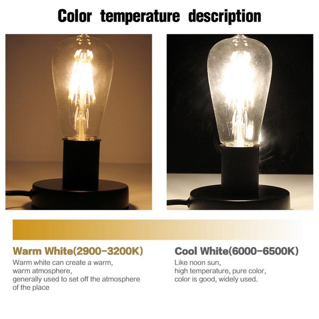 LED Filament Bulb E27  E14 Vintage Edison Lamp 220 Retro Candle Light Globe Chandelier Lighting COB Home Decor DIMMABLE