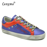 CANGMA Girls Purple Casual Shoes Women Brand Handmade Waterproof Canvas Flats Genuine Leather Lace Up Female