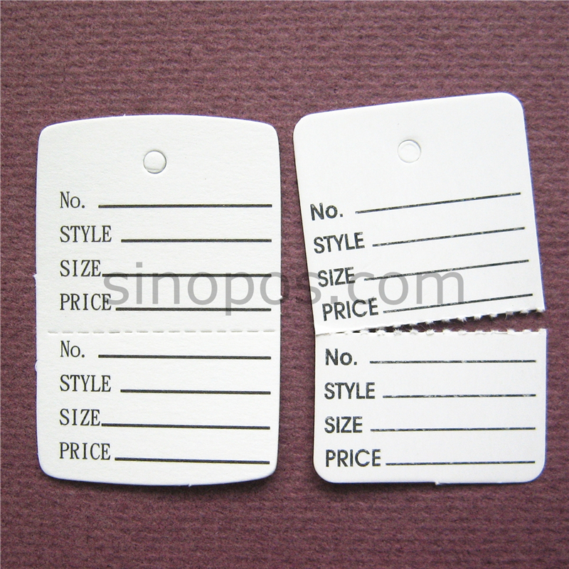 photo about Printable Ticket Paper called US $15.5 32x48mm Perforated tags, packaging paper label ticket card, white posted garment rate tags, present dangle tag, 2 aspect deal with tags-inside of Garment