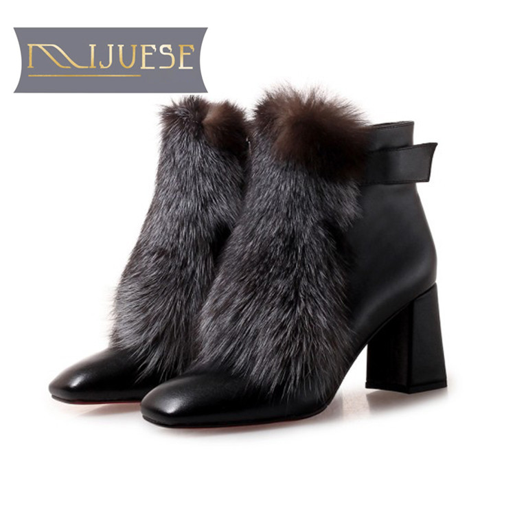 MLJUESE 2019 women ankle boots cow leather zippers fox hair square toe high heels boots winter short plush warm boots
