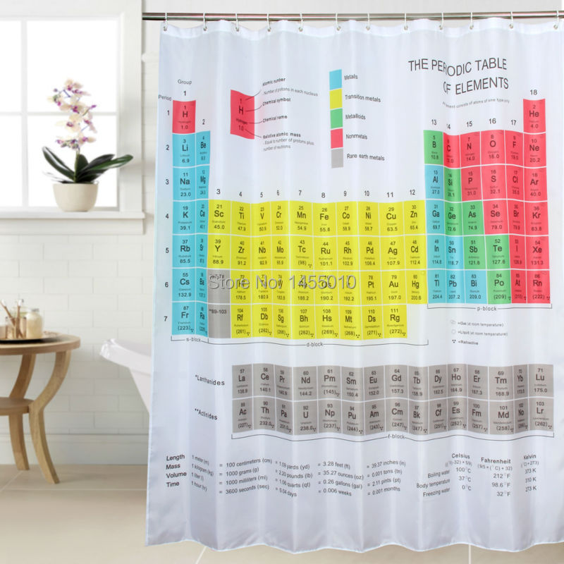 Happy Tree Fabric Polyester Periodic Table Shower Curtain